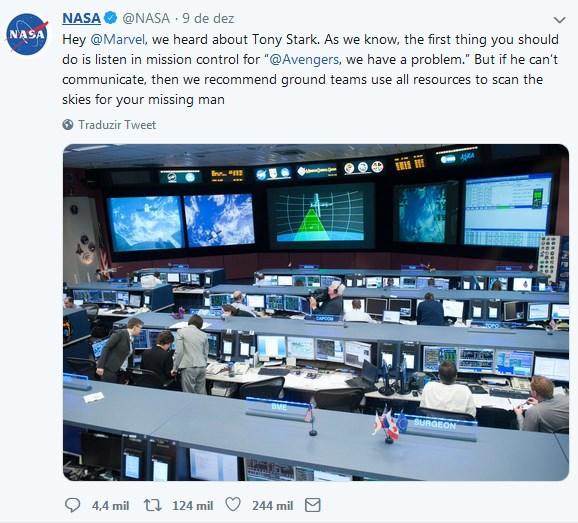 nasa responde sobre o resgate de tony stark - Fãs pedem para NASA resgatar Tony Stark a deriva no espaço