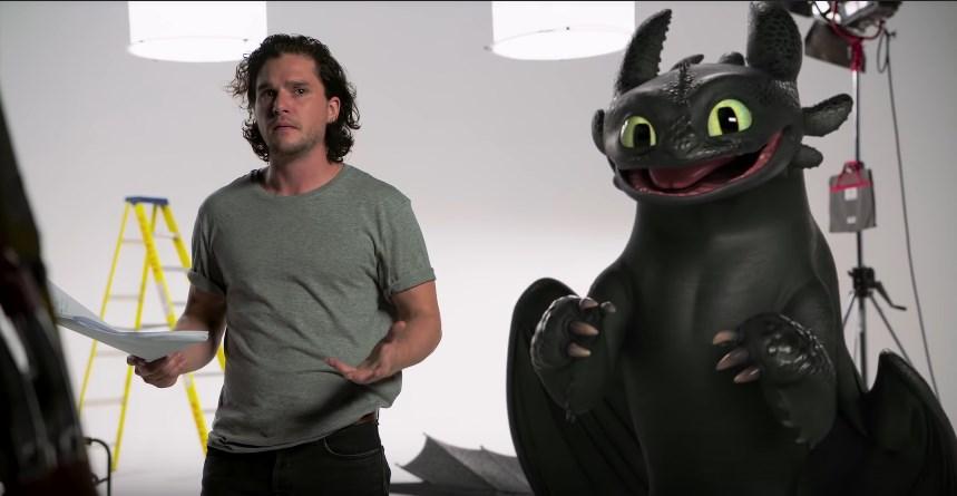 Kit Harrington contracena com Banguela em novo vídeo hilário de Como Treinar Seu Dragão 3