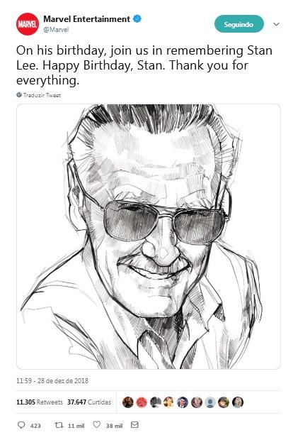 twitter marvel entretenimento homenageia stan lee em seu aniversario - Stan Lee completaria hoje 96 anos de idade