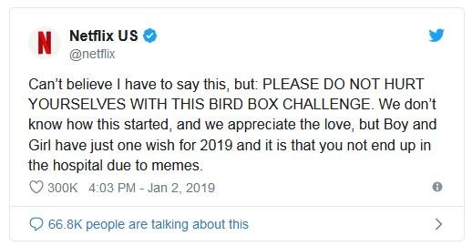 """A Netflix, em seu twitter, deixou um recado: """"Não acredito que preciso dizer isso, mas: por favor, não se machuquem fazendo o 'desafio Bird Box'. Não sabemos como isso começou, e apreciamos o amor [pelo filme], mas o garoto e a garota tem só um pedido para 2019, e é que vocês não acabem no hospital por causa de um meme""""…"""