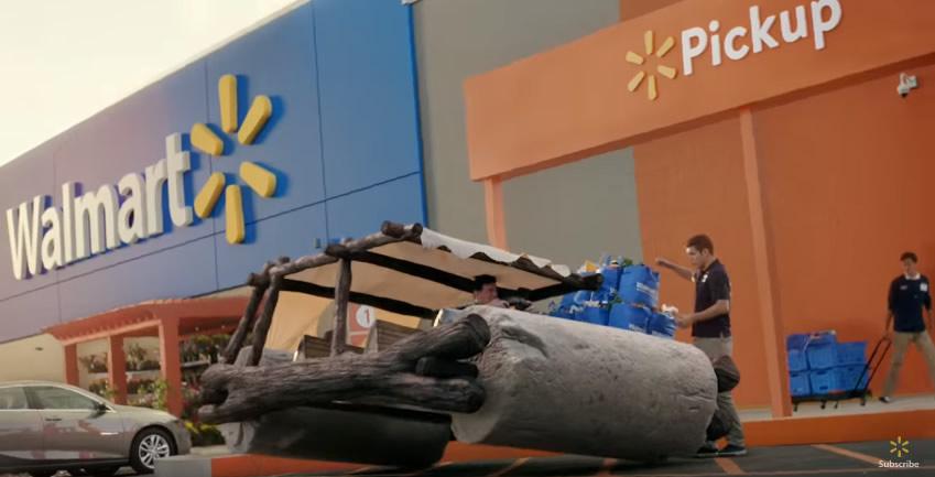 grocery pickup famous cars wallmat flinstons - Carros famosos da cultura pop vão às compras em comercial incrível do Walmart