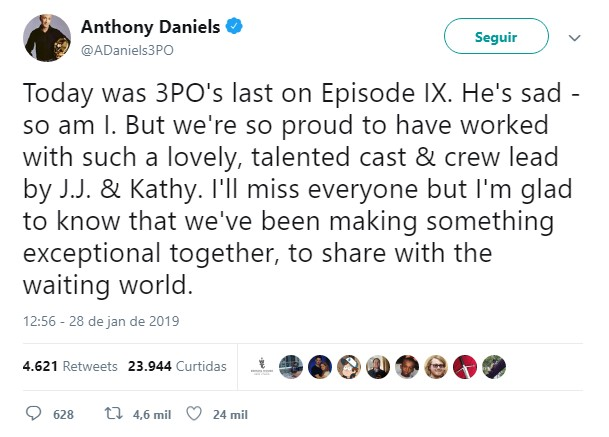Pelo Twitter Anthony Daniels - C3P0 - se despede da franquia Star Wars