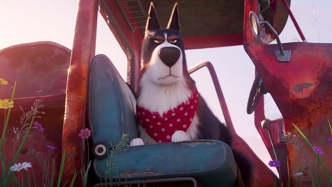 Rooster, um cachorro de fazenda mal humorado, interpretado por Harrison Ford.
