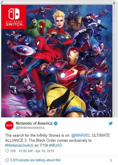 MARVEL ULTIMATE ALLIANCE 3: A ORDEM NEGRA | Nintendo divulga capa do jogo no Twitter
