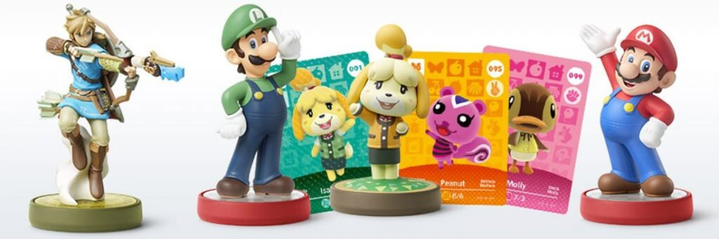 Os amiibo são cards e figuras interativas que podem se utilizado nos jogos compatíveis - Nintendo Switch