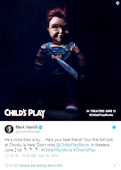 Mark Hamill colocou em seu twitter a imagem de Chucky