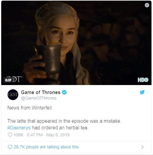 Daenerys tinha pedido um cha de ervas - Game of Thrones | Copo da Starbucks aparece no episódio 4 da oitava temporada