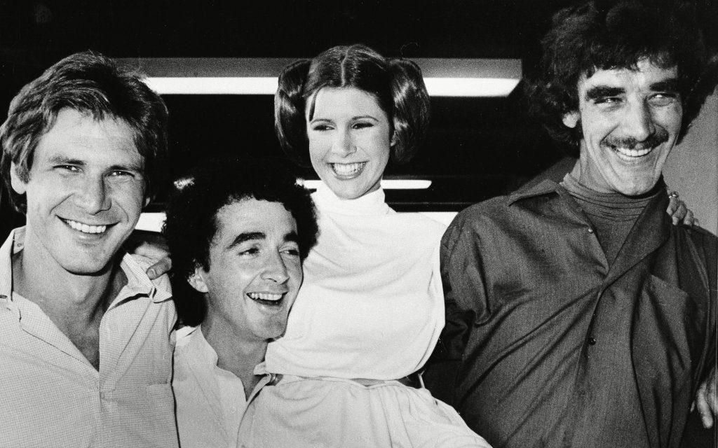 Harrison Ford - Han Solo, Anthony Daniels - C3P0, Carrie Fisher - Princesa Leia e Peter Mayhew - Wookie Chewbacca
