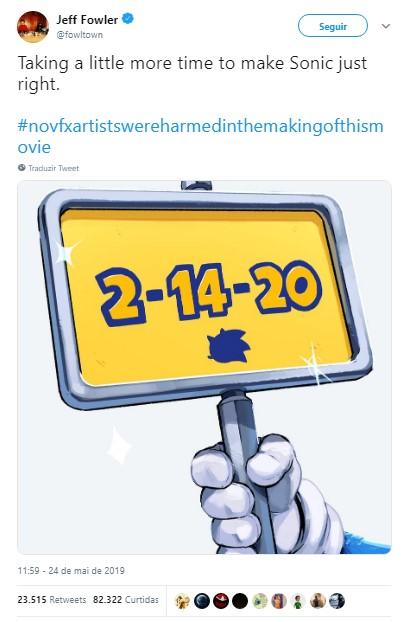 "Sonic o filme adiado para 2020 twitter Jeff Fowler - SONIC: O FILME | Adiado para 2020 para reformular o ""Ouriço Azul"""