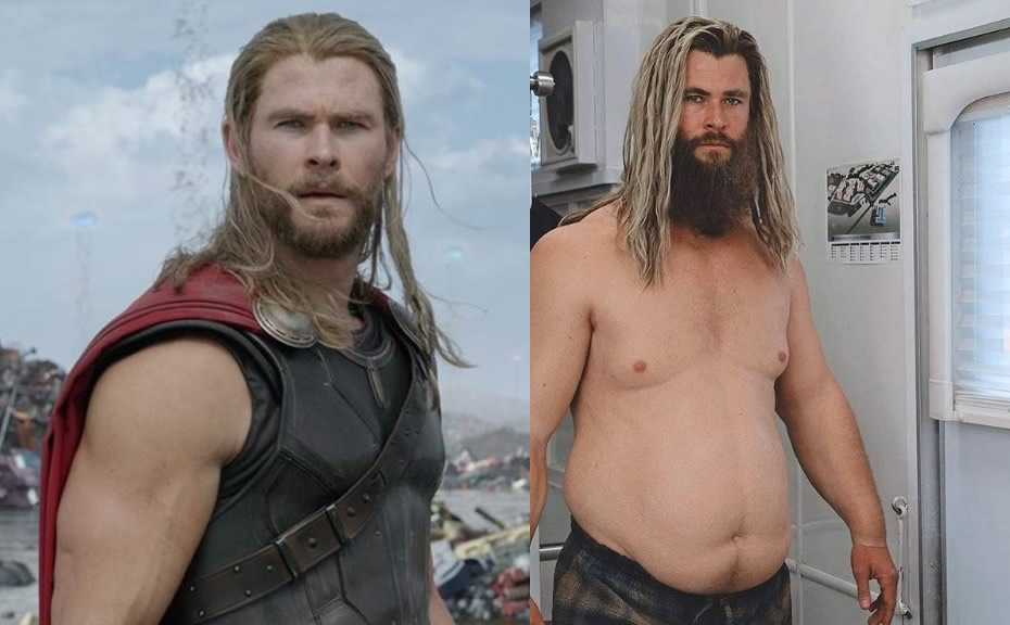 Thor Gordo | Chris Hemsworth sentiu fortes dores nas costas devido a prótese para parecer gordo