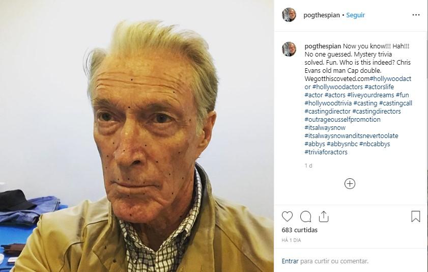 Patrick Gorman dublê facial para Chris Evans aparentar ser idoso