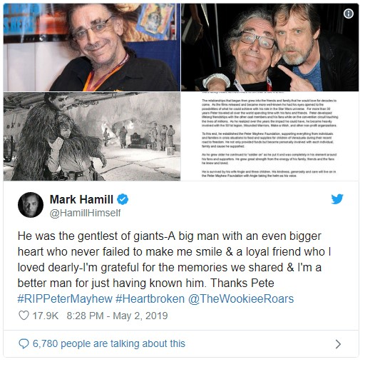 Mark Hamill, ator que interpreta Luke Skywalker, lamentou a morte, no Twitter, de Peter Mayhew