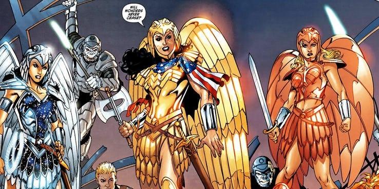 Mulher Maravilha com sua armadura dourada