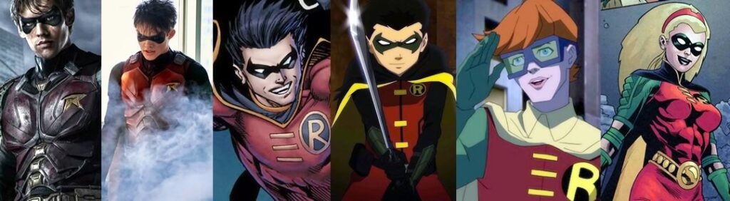 Robins: Dick Grayson, Jason Todd, Tim Drake, Damian Wayne, Carrie Kelly e Stephanie Brown