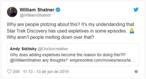 Twitter de William Shatner em defesa a Tarantino em seu novo Star Trek