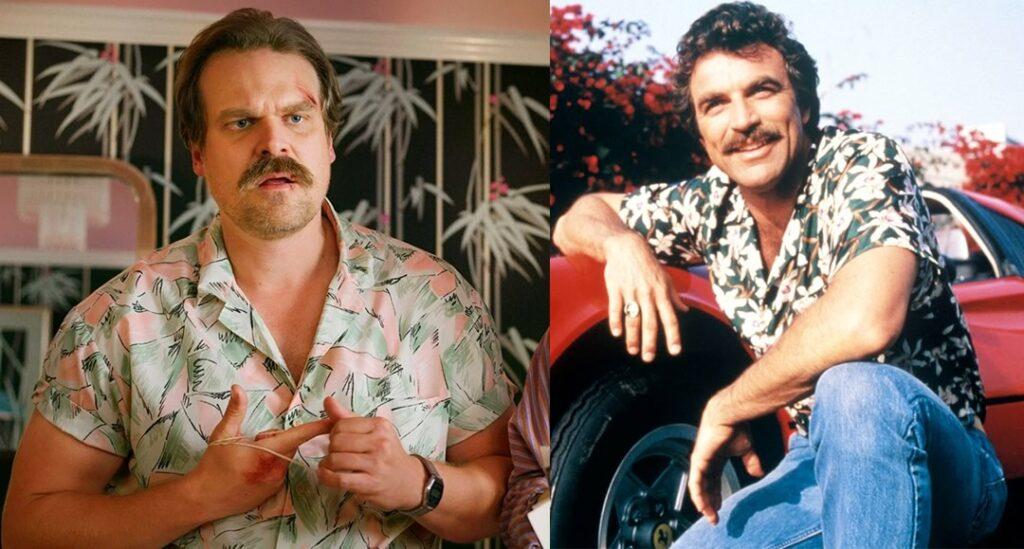 Hopper de Stranger Things vira Magnum PI em video hilario 1024x549 - Hopper, de Stranger Things, vira Magnum em vídeo de abertura do seriado dos anos 80