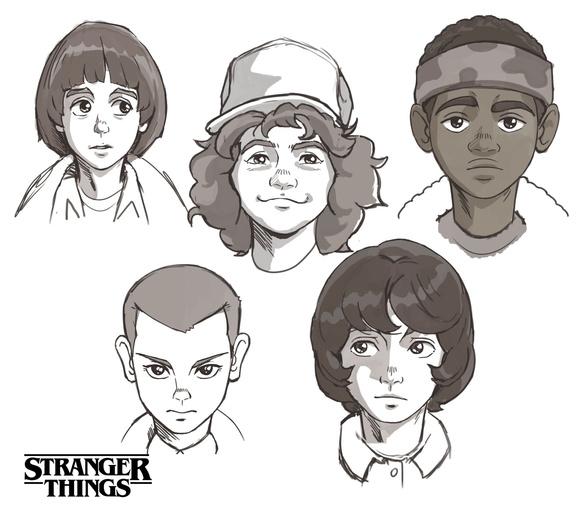 stranger things design personagens anime - E se Stranger Things fosse um anime dos anos 80?