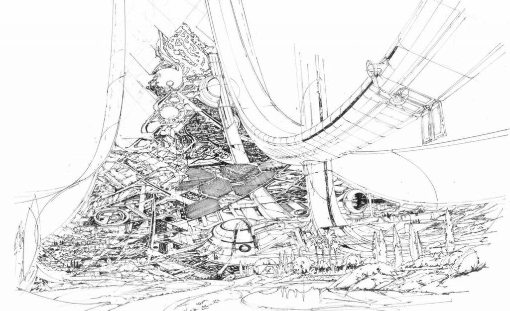 Syd Mead arte conceitual de Elysium 1024x625 - Syd Mead, o artista visionário, morre aos 86 anos