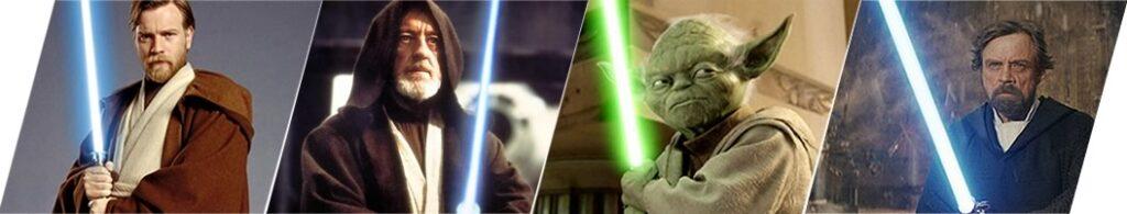 Vozes de Rey: Obi-Wan Kenobi jovem - Obi-Wan Kenobi velho - Yoda - Luke Skywalker