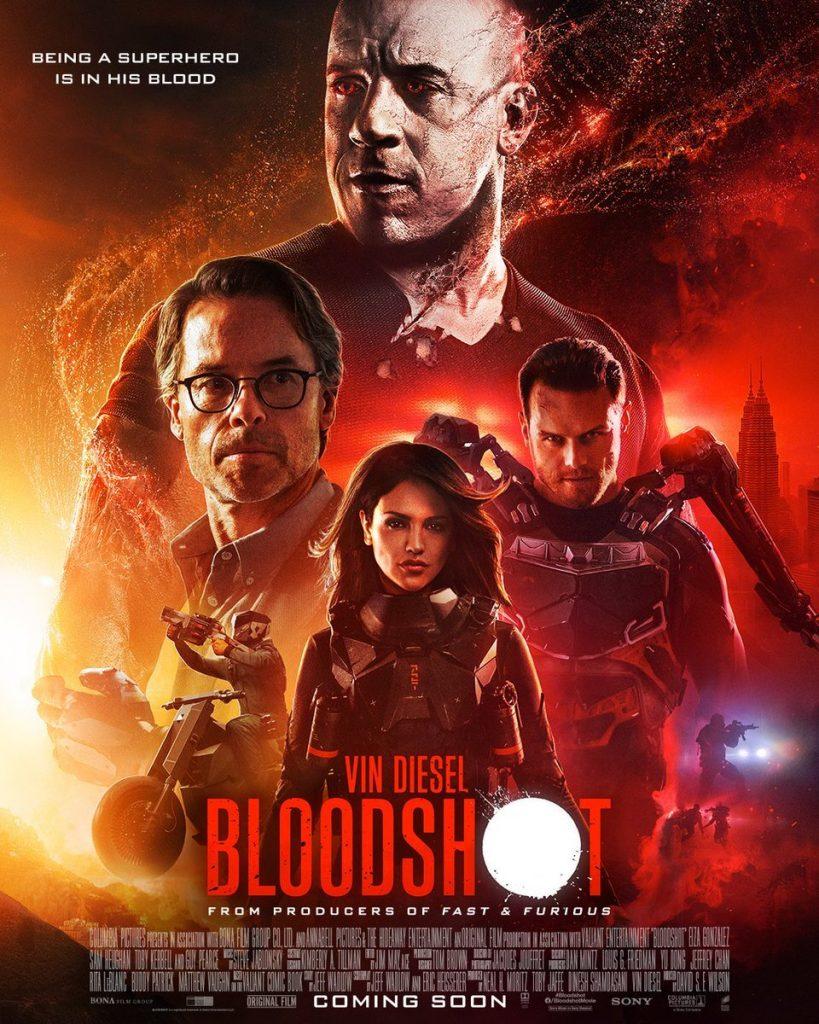 BloodShot pôster com Vin Diesel e elenco