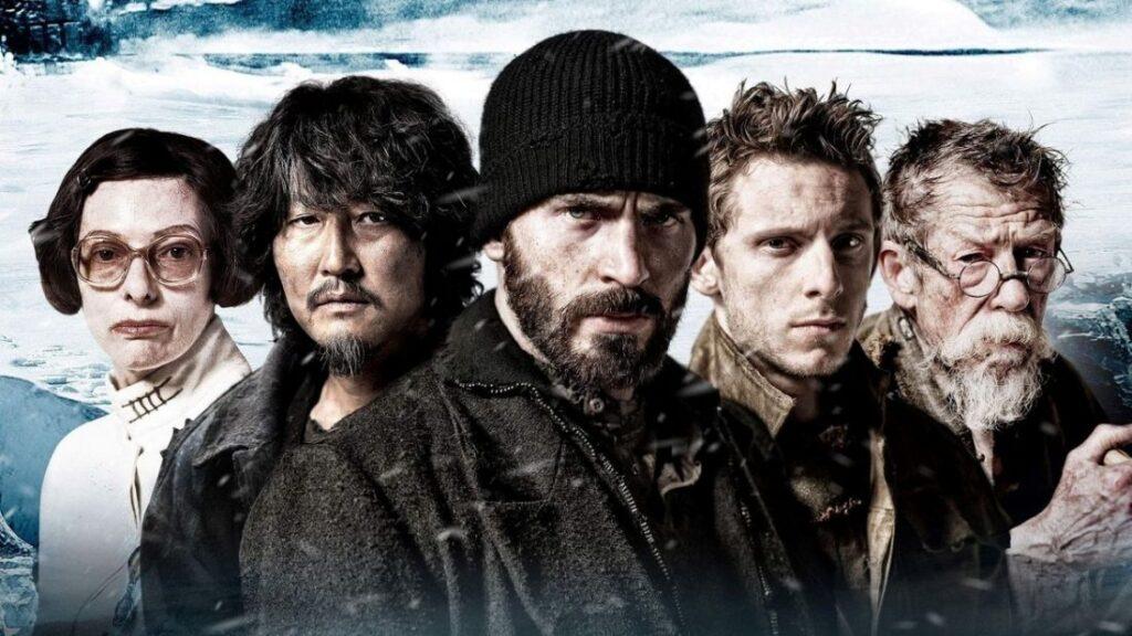 SNOWPIERCER - 2013 - Tilda Swinton (Mason), Song Kang-ho (Namgoong Minsoo), Chris Evans (Curtis), Jamie Bell (Edgar) e John Hurt (Gilliam)