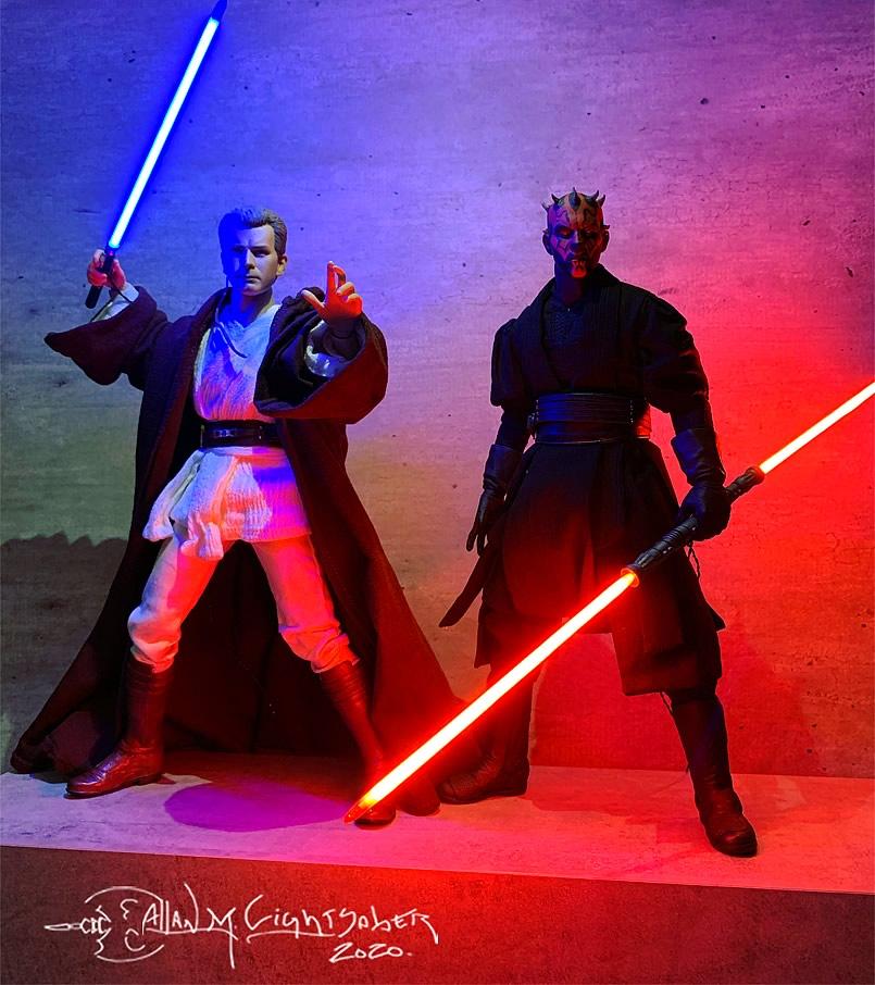 star wars obi wan kenobi padawan e darth maul ambos da sideshow collectibles ok - Conheça Allan Lightsaber customizador de Sabres de Luz - Hot Toys e Sideshow Collectibles