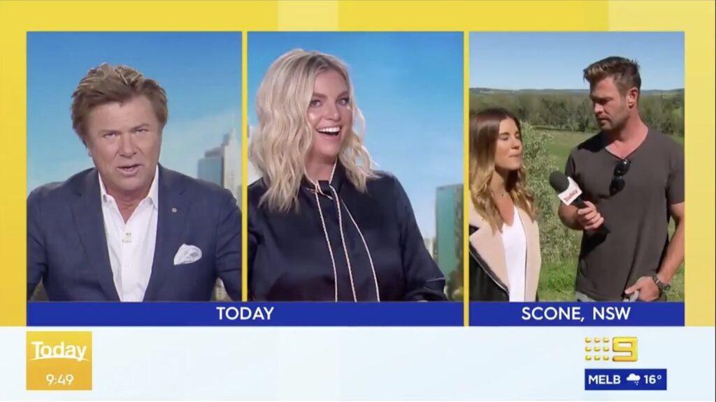 Chris Hemsworth invade previsão do tempo ao vivo do canal The Today Show e surpreende repórter e âncoras