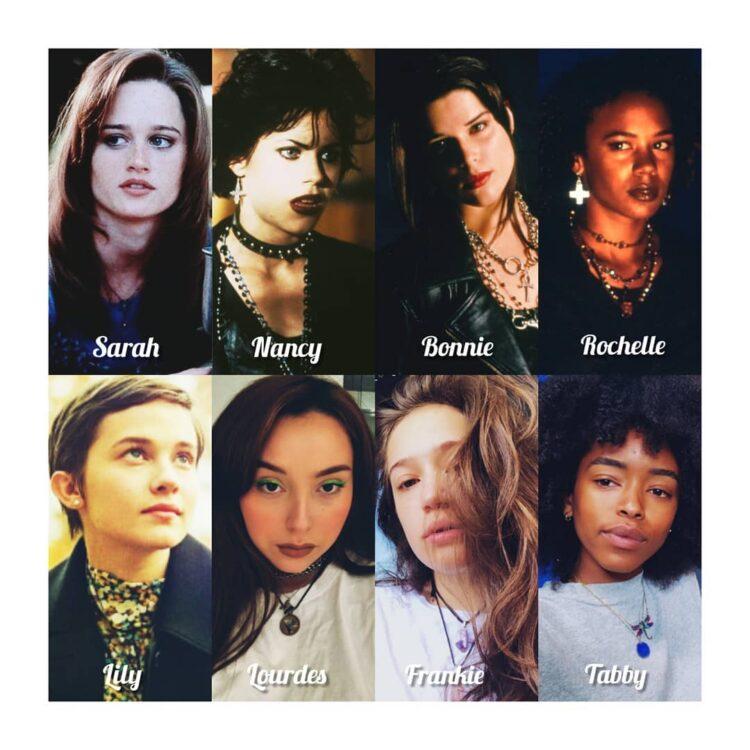 Personagens do elenco do Reboot de The Craft e elementos com o elenco original