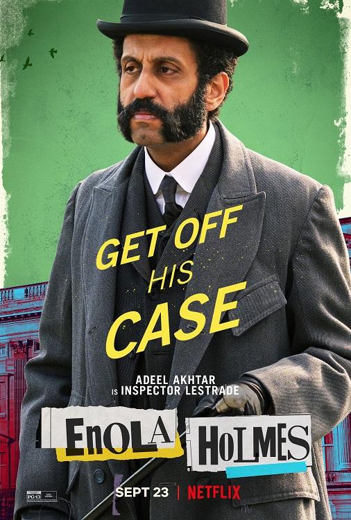 enolas holmes adeel akhtar inspector lestrade - Enola Holmes | Filme com Millie Bobby Brown tem cartazes individuais dos personagens divulgados