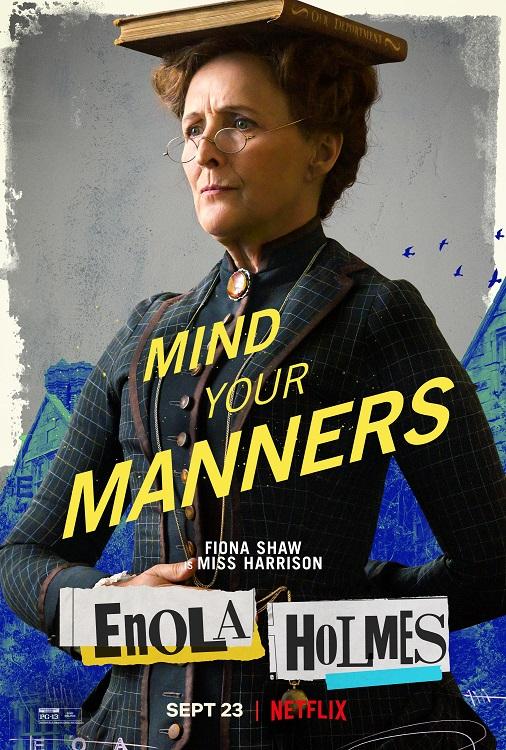 enolas holmes fidna shaw miss harrison - Enola Holmes | Filme com Millie Bobby Brown tem cartazes individuais dos personagens divulgados