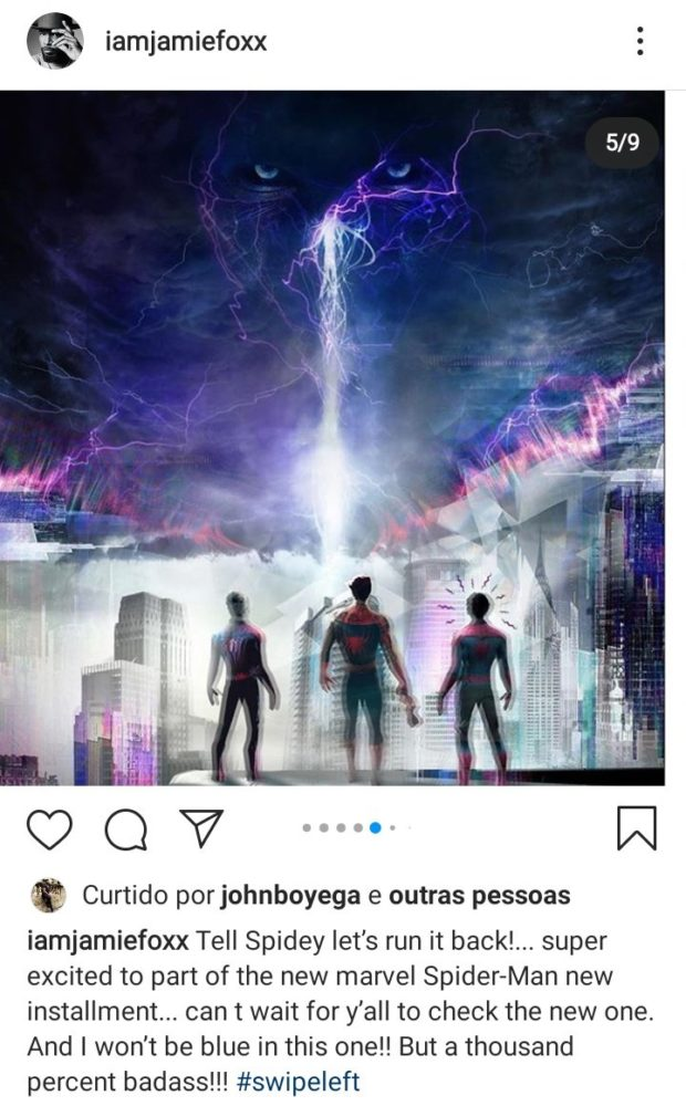 instagram jamie foxx electro homem aranha 3 tom holland - Jamie Foxx estará em Homem-Aranha 3 como Electro mas não será azul