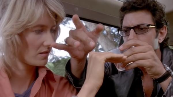 Laura Dern e Jeff Goldblum em Jurassic Park 1993
