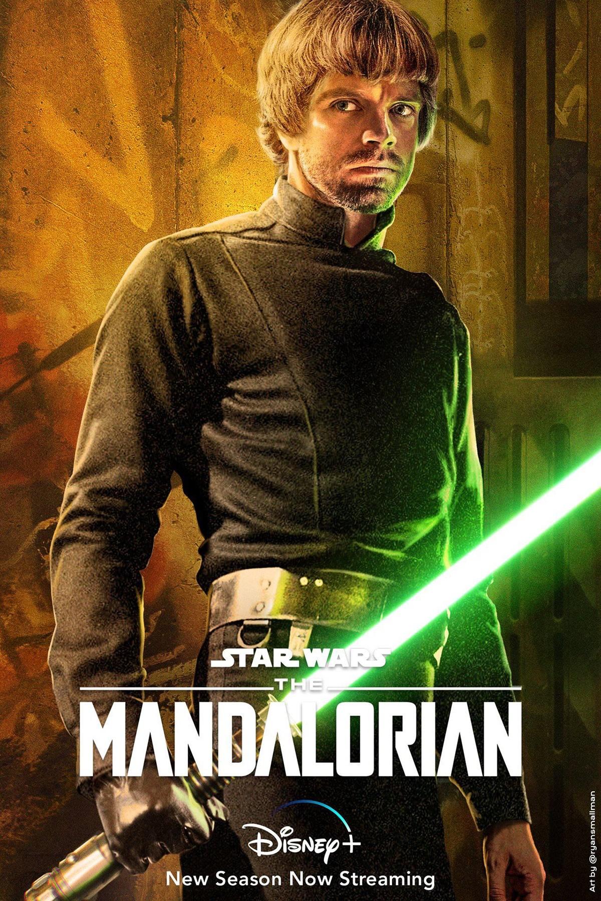 Montagem de Sebastian Stan como Luke Skywalker em The Mandalorian 2