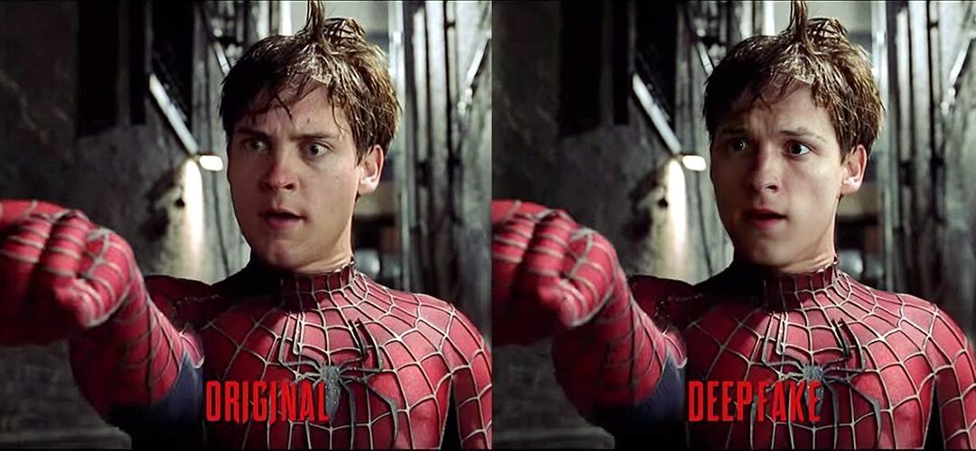 Deepfake de Tom Holland substituindo Tobey Maguire em Homem-Aranha