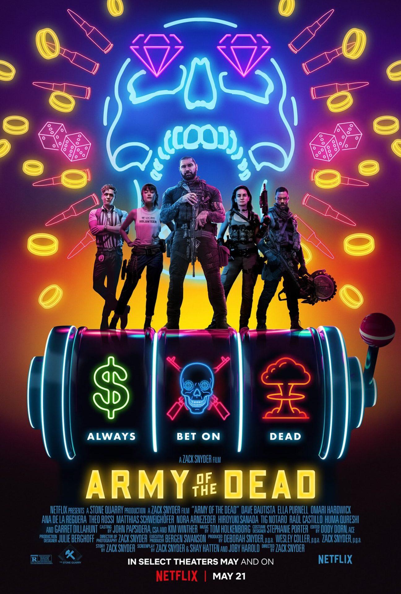 army of the dead invasao em las vegas zack snyder compartilha poster estilo neon filme de zumbis - ARMY OF THE DEAD: Invasão em Las Vegas | Zack Snyder compartilha pôster em estilo Neon do seu filme de zumbis