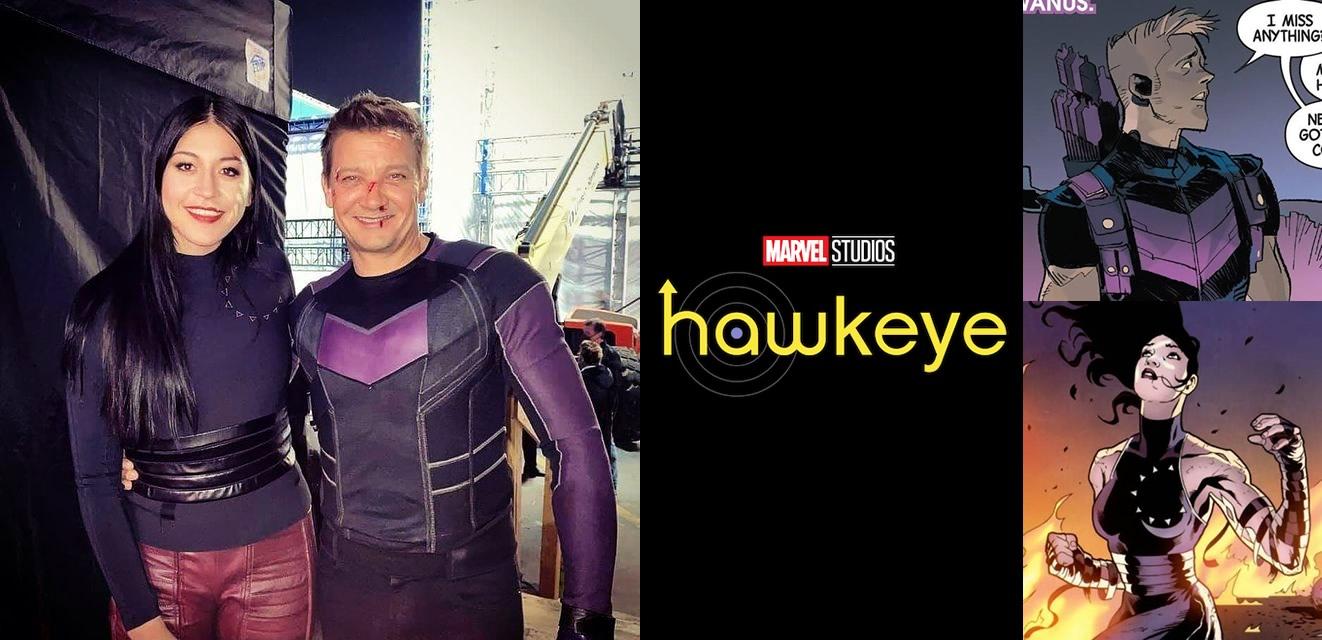Hawkeye   Foto dos bastidores mostra o figurino de Gavião Arqueiro e Echo