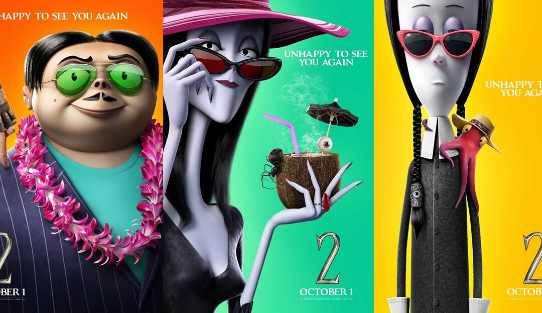 A Família Addams 2   Pôsteres individuais da animação com Oscar Isaac e Charlize Theron entre outros