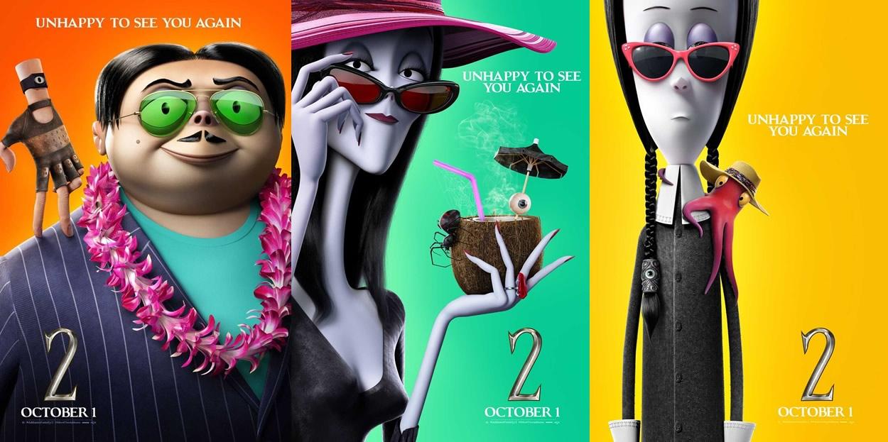 A Família Addams 2 | Pôsteres individuais da animação com Oscar Isaac e Charlize Theron entre outros