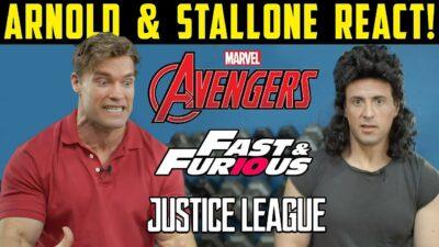 DEEPFAKE   Arnold Schwarzenegger e Sylvester Stallone viajam no tempo e reagem a filmes da Marvel e DC