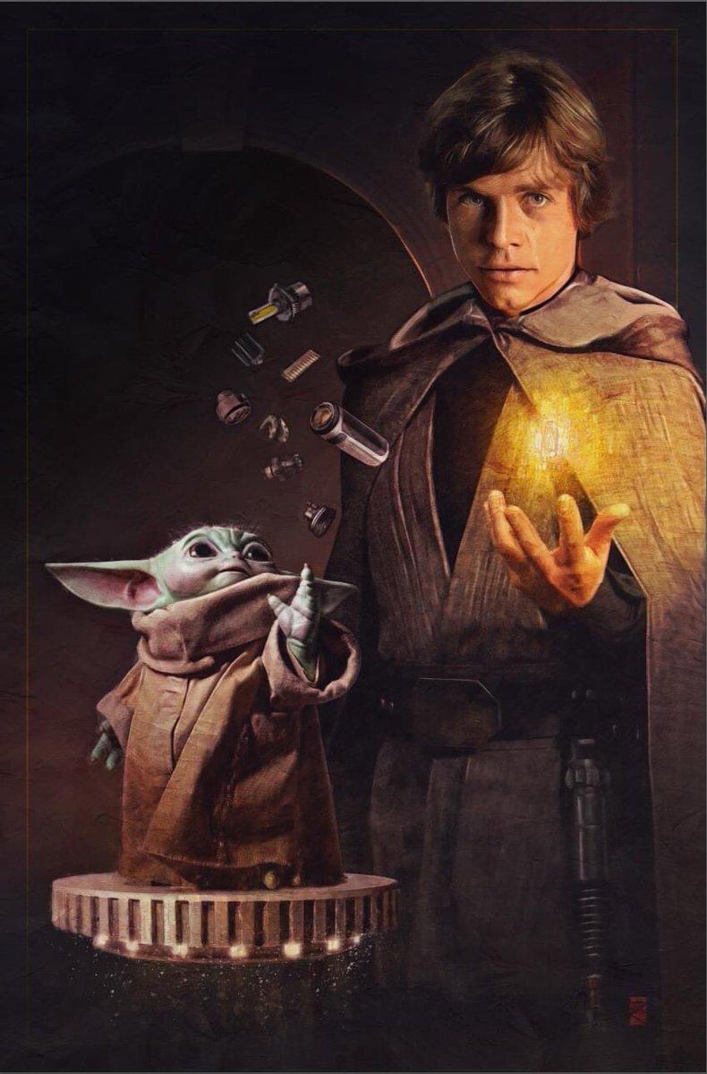 STAR WARS   Luke Skywalker e Grogu construindo um sabre de luz usando a força em arte oficial