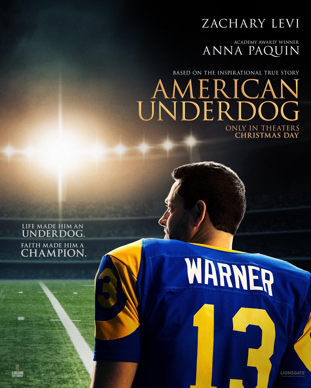 American Underdog: The Kurt Warner Story   Cinebiografia do ex-jogador da NFL interpretado por Zachary Levi
