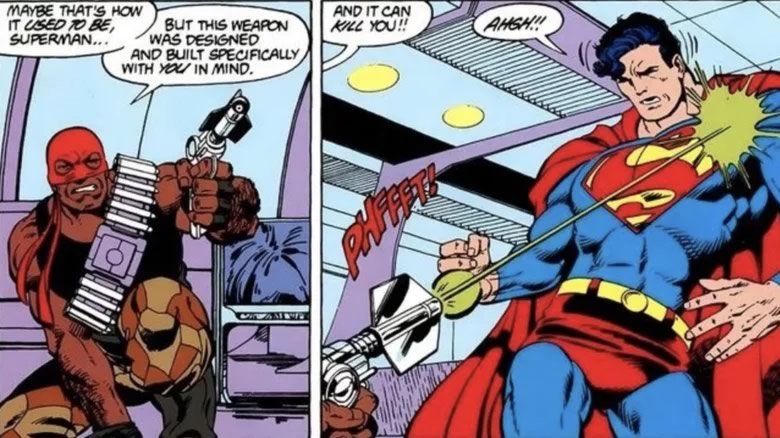Superman #4 por John Byrne - Bloodsport (Sanguinário) atira com bala de kryptonita em Superman