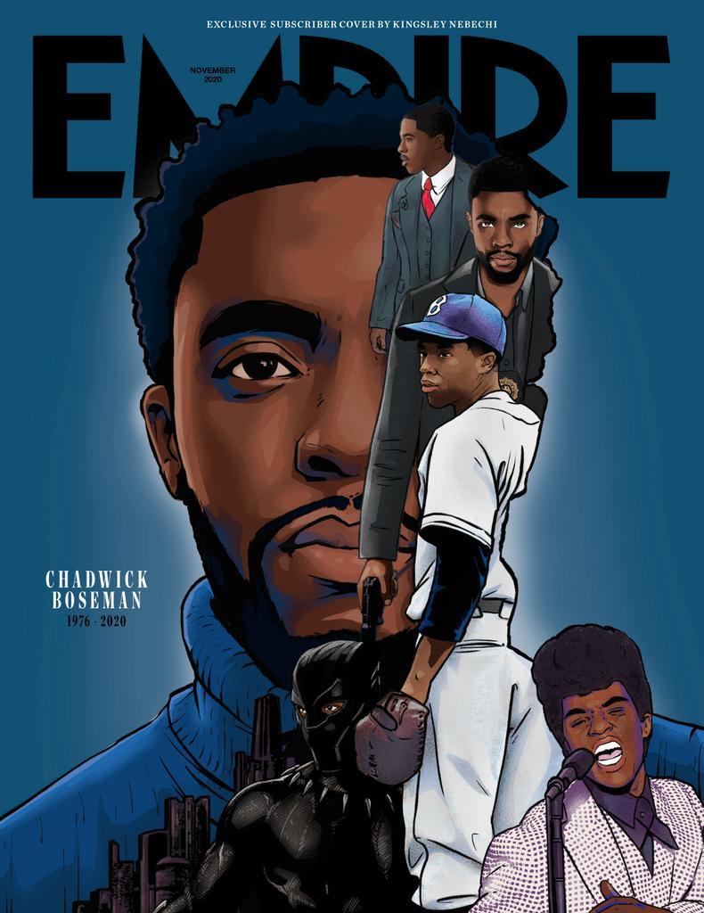 Capa da Revista Empire de Novembro de 2020 - Chadwick Boseman e seus papéis mais amados - ilustrada por Kingsley Nebechi