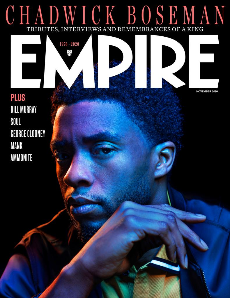 Capa da Revista Empire de Novembro de 2020 - Chadwick Boseman fotografado por Kwaku Alston