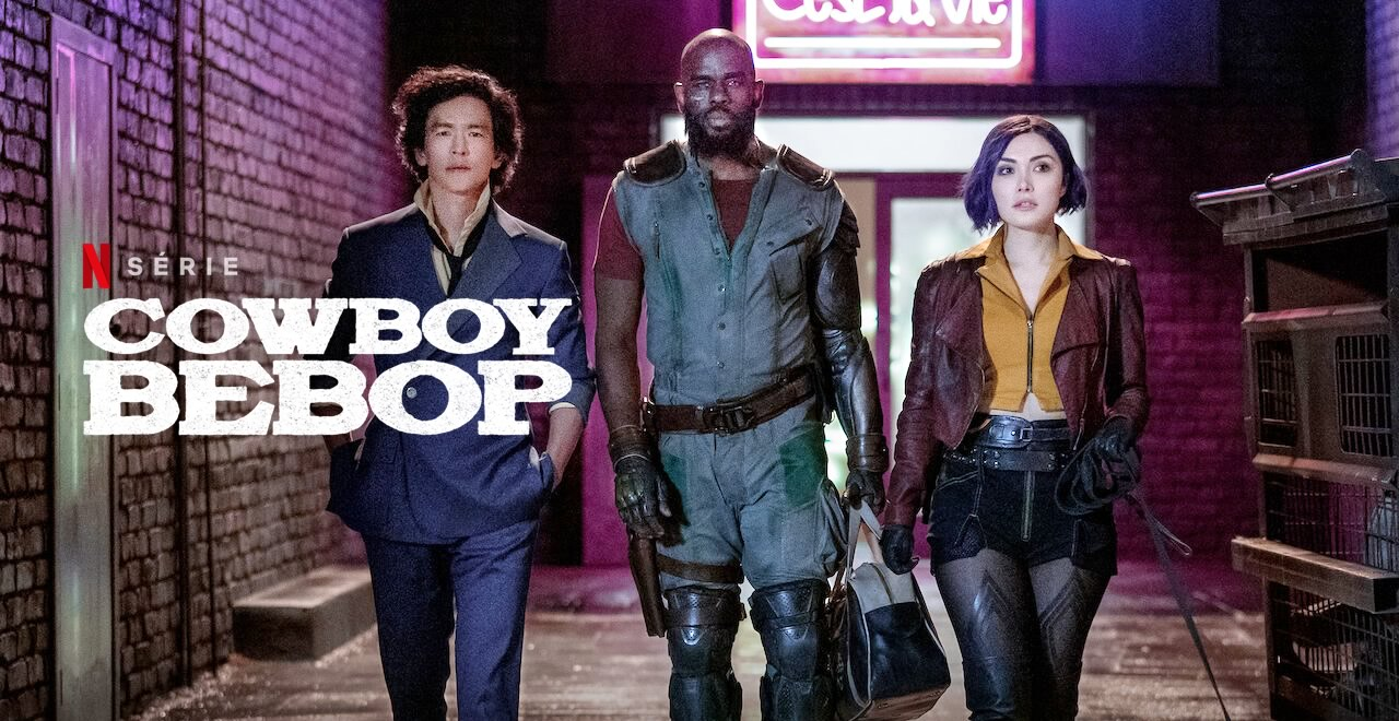 Cowboy Bebop   Netflix divulga pôster inédito da série live-action com os personagens Spike Spiegel, Faye Valentine e Jet Black